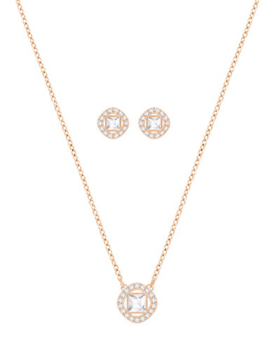 Swarovski Crystal Angelic Square Necklace and Earrings Set-ROSE GOLD-One Size
