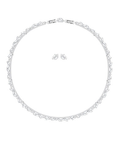Swarovski Two-Piece Henrietta Necklace And Earrings Set-SILVER-One Size