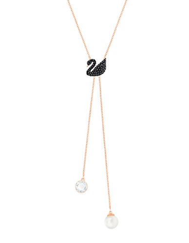 Swarovski Swan Double Y Necklace-ROSE GOLD-One Size