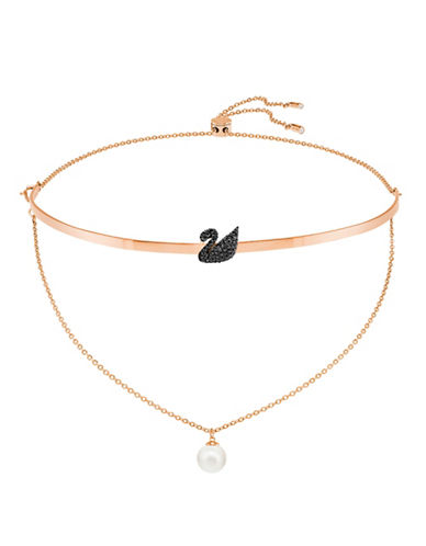 Swarovski Faux Pearl And Pave Swan Choker-ROSE GOLD-One Size