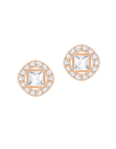 Swarovski Angelic Rose Goldplated Square Stud Earrings-ROSE GOLD-One Size