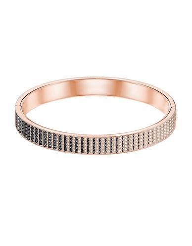 Swarovski Luxury Crystal Large Hinged Bangle Bracelet-ROSE GOLD-One Size