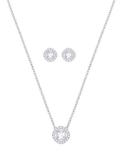 Swarovski Angelic Square Necklace and Earrings Set-SILVER-One Size