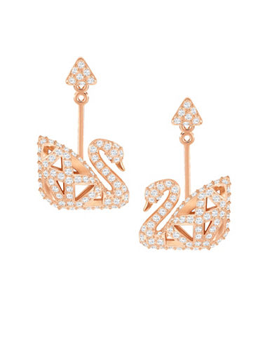 Swarovski Pave Swan Drop Earrings-ROSE GOLD-One Size