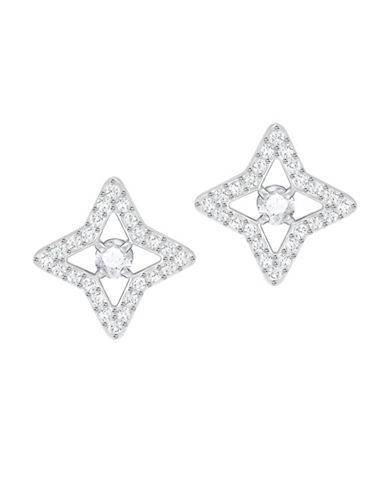 Swarovski Crystal Sparkling Dance Star Pierced Earrings-SILVER-One Size