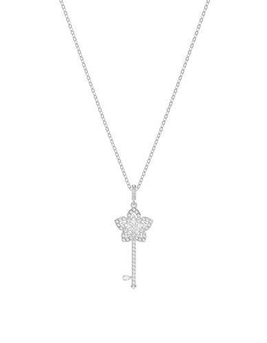 Swarovski Lady Crystal Key Pendant Necklace-SILVER-One Size