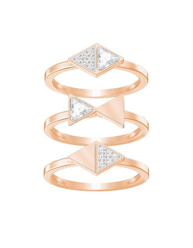 Swarovski Heroism Pavé Swarovski Crystal and Clear Crystal Ring Set-ROSE GOLD-One Size