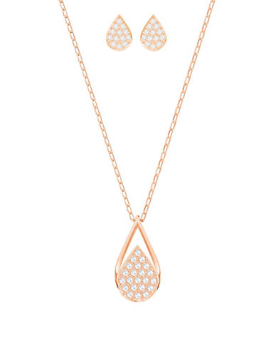 Swarovski Two-Piece Ginger Pear Crystal Pendant Necklace and Earrings Set-ROSE GOLD-One Size