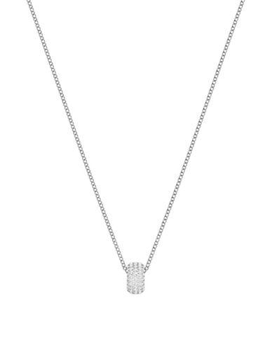 Swarovski Stone Round Pendant Necklace-SILVER-One Size