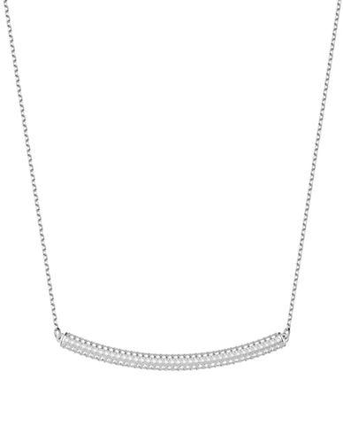 Swarovski Stone Crystal Bar Choker Necklace-SILVER-One Size