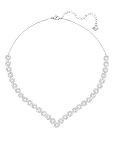 Swarovski Angelic Silvertone Square V-Necklace-SILVER-One Size