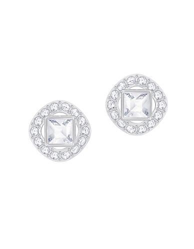 Swarovski Angelic Silvertone Square Stud Earrings-SILVER-One Size