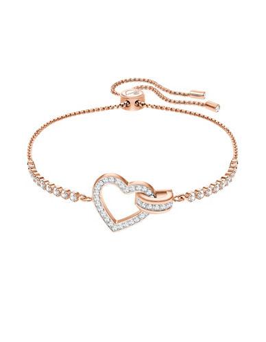 Swarovski Lovely Heart Adjustable Bracelet-ROSE GOID-One Size