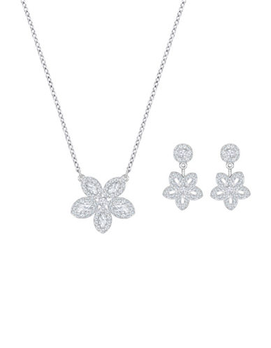 Swarovski Baron Two-Piece Crystal Flower Pendant Necklace and Stud Earrings Set-SILVER-One Size