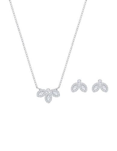 Swarovski Baron Two-Piece Crystal Pendant Necklace and Stud Earrings Set-SILVER-One Size