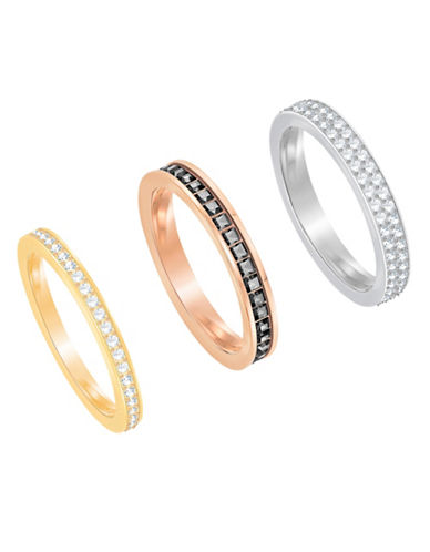 Swarovski Hint Stacked Band Rings Set-ROSE GOLD-One Size