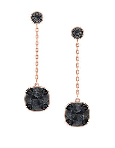 Swarovski Lattitude Crystal Drop Earrings-BLACK-One Size