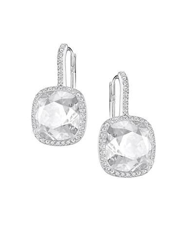 Swarovski Lattitude Crystal Drop Earrings-SILVER-One Size