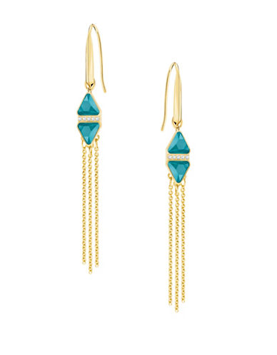 Swarovski Crystal Tassle Drop Earrings-TURQUOISE-One Size