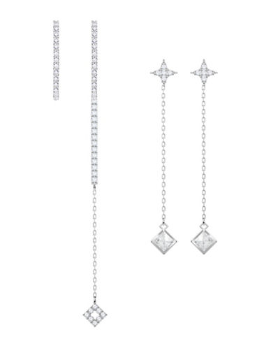 Swarovski Vittore Set of Two Crystal Drop Earrings Set-SILVER-One Size