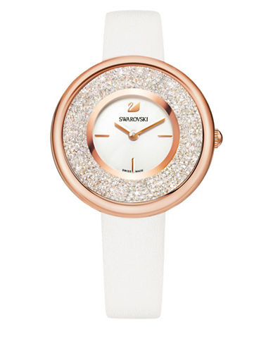Swarovski Crystalline Pure Swarovski-Embellished Leather Strap Watch-WHITE-One Size
