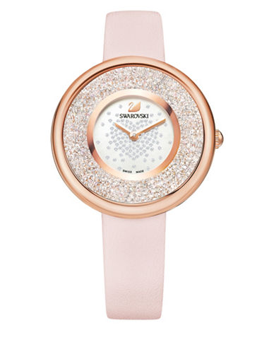 Swarovski Crystalline Pure Leather Watch-ROSE GOLD-One Size