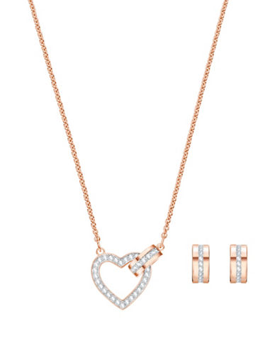 Swarovski Two-Piece Lovely Crystal Necklace and Hoop Earrings Set-ROSE GOLD-One Size