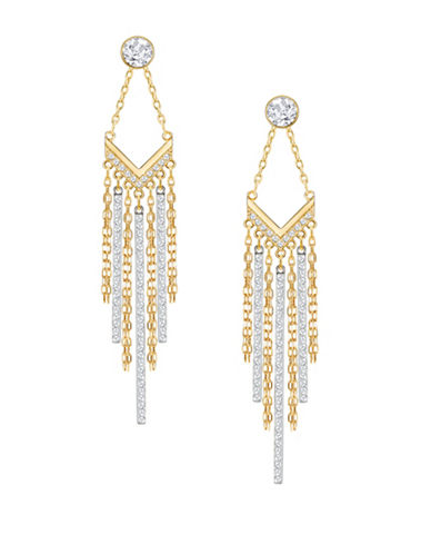 Swarovski Lyrebird Crystal Convertible Earrings-GOLD-One Size