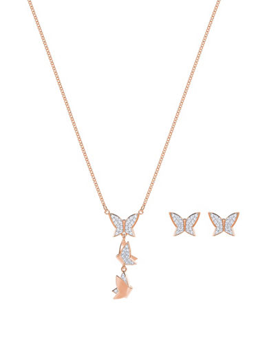 Swarovski Lilia Crystal Necklace and Earrings Set-ROSE GOLD-One Size
