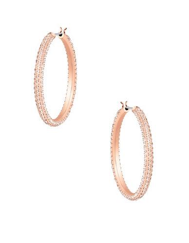 Swarovski Stone Crystal Hoop Earrings-ROSE GOLD-One Size