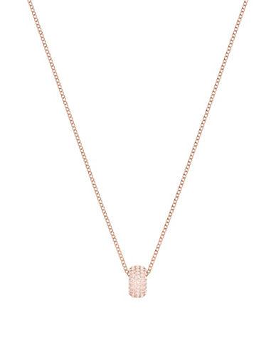 Swarovski Stone Round Pendant Necklace-ROSE GOLD-One Size
