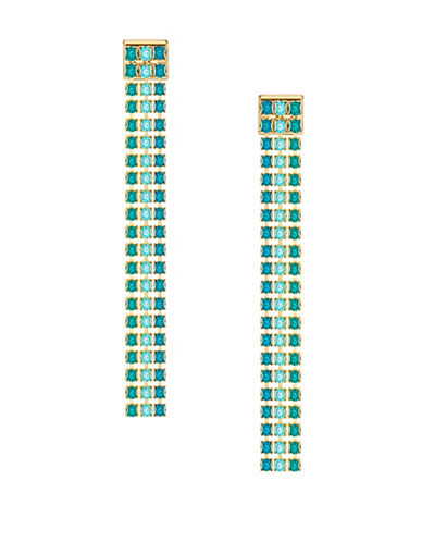Swarovski Fit Blue Crystal and Green Crystal Drop Earrings-BLUE-One Size
