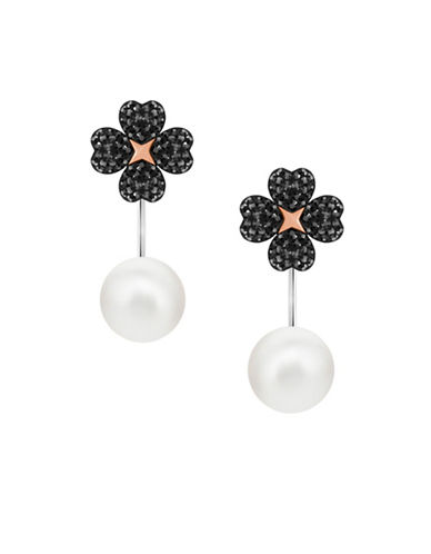 Swarovski Pearl and Crystal Earring Jackets-BLACK-One Size
