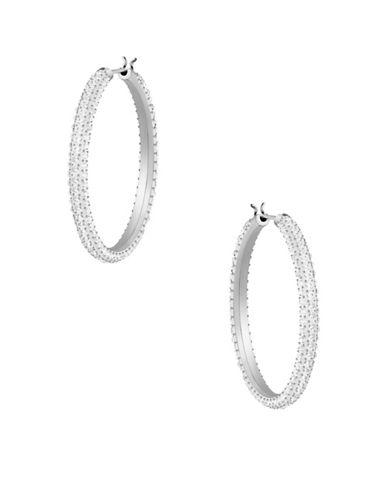 Swarovski Stone Crystal Hoop Earrings-SILVER-One Size