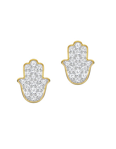 Swarovski Hamsa Hand Crystal Stud Earrings-GOLD-One Size