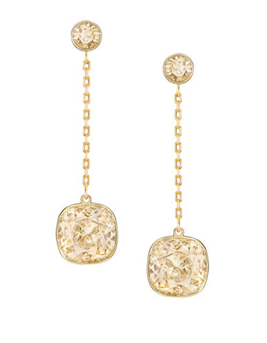 Swarovski Lattitude Crystal Drop Earrings-GOLD-One Size