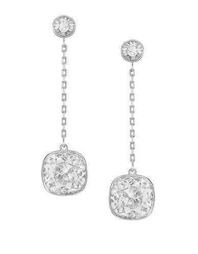 Swarovski Lattitude Crystal Drop Earrings-SILVER-One Size