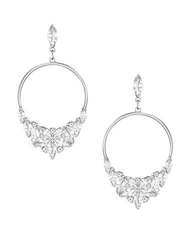 Swarovski Lady Frontal Hoop Drop Earrings-SILVER-One Size