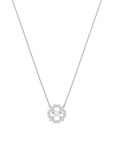 Swarovski Sparkling DC Pavé Crystal Flower Pendant Necklace-SILVER-One Size