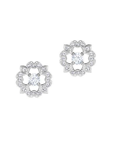 Swarovski Sparkling DC Pavé Crystal Flower Stud Earrings-SILVER-One Size