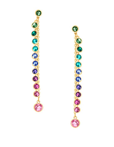 Swarovski Attract Multi-Coloured Crystals Drop Earrings-GOLD-One Size