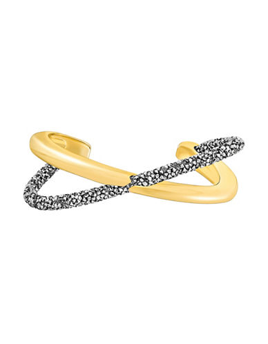 Swarovski Crystaldust Cross Cuff Bracelet-GOLD-One Size