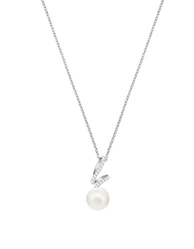 Swarovski Pearl and Crystal Pendant Necklace-WHITE-One Size