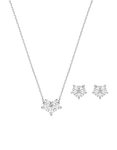 Swarovski Two-Piece Lady Necklace and Stud Earrings Set-SILVER-One Size