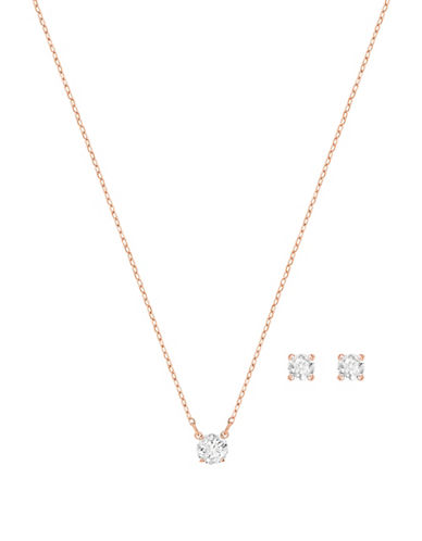 Swarovski Two-Piece Attract Round Necklace and Earrings Set-ROSE GOLD-One Size