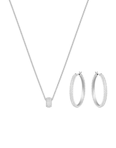Swarovski Two-Piece Stone Necklace and Hoop Earrings Set-SILVER-One Size