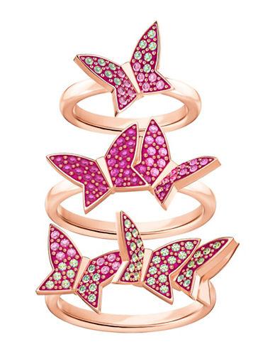 Swarovski Lilia Three-Piece Pavé Crystal Stacked Ring Set-PINK-7