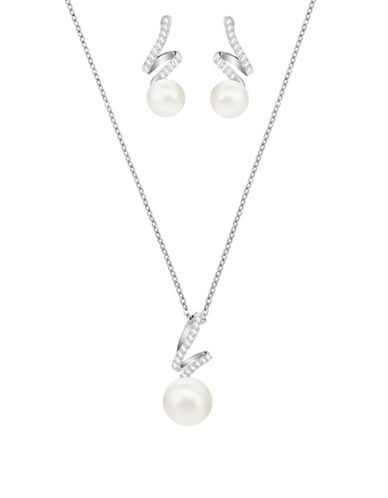 Swarovski Pearl and Crystal Pave Necklace and Earrings Set-WHITE-One Size