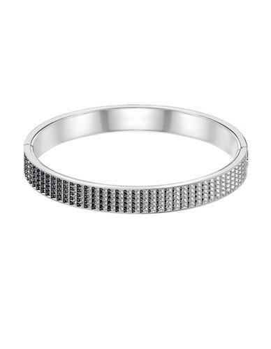 Swarovski Luxury Crystal Large Hinged Bangle Bracelet-SILVER-One Size