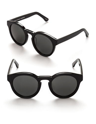 Sunday Somewhere Kitey 49mm Round Sunglasses-BLACK/SILVER MIRROR-One Size
